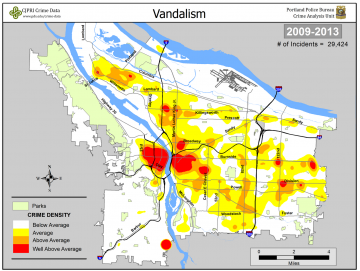 GoLocalPDX Portland Crime Problems Data Helps Fight The - Map of violent crime in us